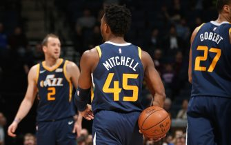 MINNEAPOLIS, MN -  NOVEMBER 20: Donovan Mitchell #45 of the Utah Jazz looks on against the Utah Jazz on November 20, 2019 at Target Center in Minneapolis, Minnesota. NOTE TO USER: User expressly acknowledges and agrees that, by downloading and or using this Photograph, user is consenting to the terms and conditions of the Getty Images License Agreement. Mandatory Copyright Notice: Copyright 2019 NBAE (Photo by David Sherman/NBAE via Getty Images)