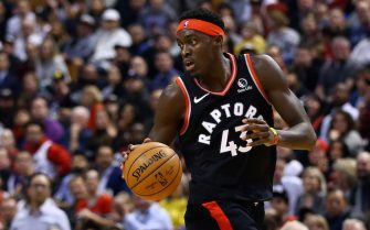 TORONTO, ON - NOVEMBER 20:  Pascal Siakam #43 of the Toronto Raptors dribbles the ball during the second half of an NBA game against the Orlando Magic at Scotiabank Arena on November 20, 2019 in Toronto, Canada.  NOTE TO USER: User expressly acknowledges and agrees that, by downloading and or using this photograph, User is consenting to the terms and conditions of the Getty Images License Agreement.  (Photo by Vaughn Ridley/Getty Images)