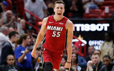 MIAMI, FLORIDA - NOVEMBER 20:  Duncan Robinson #55 of the Miami Heat reacts after making a three-pointer against the Cleveland Cavaliers during the first half at American Airlines Arena on November 20, 2019 in Miami, Florida. NOTE TO USER: User expressly acknowledges and agrees that, by downloading and/or using this photograph, user is consenting to the terms and conditions of the Getty Images License Agreement.  (Photo by Michael Reaves/Getty Images)