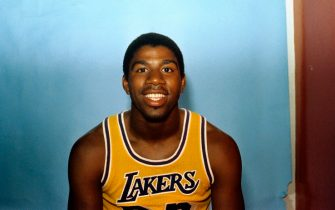 (Original Caption) Here is Magic Johnson of the Los Angeles Lakers.