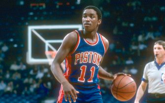 LANDOVER, MD - CIRCA 1983: Isiah Thomas #11 of the Detroit Pistons dribbles the ball against the Washington Bullets during an NBA basketball game circa 1983 at The Capital Centre in Landover, Maryland. Thomas played for the Pistons from 1981-94. (Photo by Focus on Sport/Getty Images)