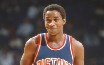 LANDOVER, MD - CIRCA 1982: Isiah Thomas #11 of the Detroit Pistons looks on smiling against Washington Bullets during an NBA basketball game circa 1982 at The Capital Centre in Landover, Maryland. Thomas played for the Pistons from 1981-94. (Photo by Focus on Sport/Getty Images)