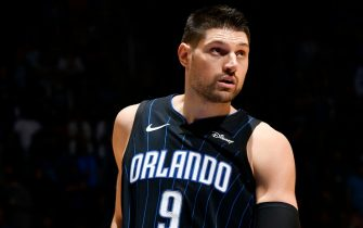 ORLANDO, FL - NOVEMBER 15: Nikola Vucevic #9 of the Orlando Magiclooks on during the game against the San Antonio Spurs on November 15, 2019 at Amway Center in Orlando, Florida. NOTE TO USER: User expressly acknowledges and agrees that, by downloading and or using this photograph, User is consenting to the terms and conditions of the Getty Images License Agreement. Mandatory Copyright Notice: Copyright 2019 NBAE (Photo by Fernando Medina/NBAE via Getty Images)