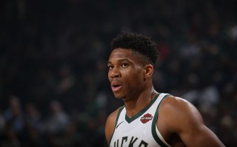 CHICAGO, IL - NOVEMBER 21: Giannis Antetokounmpo #34 of the Milwaukee Bucks looks on against the Portland Trail Blazers on November 21, 2019 at the United Center in Chicago, Illinois. NOTE TO USER: User expressly acknowledges and agrees that, by downloading and or using this photograph, user is consenting to the terms and conditions of the Getty Images License Agreement.  Mandatory Copyright Notice: Copyright 2019 NBAE (Photo by Gary Dineen/NBAE via Getty Images)