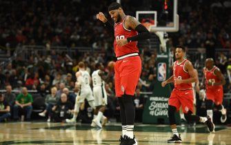 MILWAUKEE, WISCONSIN - NOVEMBER 21: Carmelo Anthony #00 of the Portland Trail Blazers celebrates a three point shot against the Milwaukee Bucks during the second half of a game at Fiserv Forum on November 21, 2019 in Milwaukee, Wisconsin. NOTE TO USER: User expressly acknowledges and agrees that, by downloading and or using this photograph, User is consenting to the terms and conditions of the Getty Images License Agreement. (Photo by Stacy Revere/Getty Images)