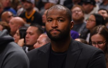 SAN ANTONIO, TX - NOVEMBER 3: DeMarcus Cousins #15 of the Los Angeles Lakers looks on during a game against the San Antonio Spurs on November 3, 2019 at the Toyota Center in San Antonio, Texas. NOTE TO USER: User expressly acknowledges and agrees that, by downloading and or using this photograph, User is consenting to the terms and conditions of the Getty Images License Agreement. Mandatory Copyright Notice: Copyright 2019 NBAE (Photo by Bill Baptist/NBAE via Getty Images)