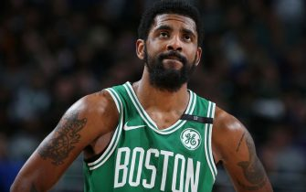 MILWAUKEE, WI - MAY 8: Kyrie Irving #11 of the Boston Celtics looks on during Game Five of the Eastern Conference Semifinals of the 2019 NBA Playoffs on May 8, 2019 at the Fiserv Forum in Milwaukee, Wisconsin. NOTE TO USER: User expressly acknowledges and agrees that, by downloading and/or using this photograph, user is consenting to the terms and conditions of the Getty Images License Agreement. Mandatory Copyright Notice: Copyright 2019 NBAE (Photo by Nathaniel S. Butler/NBAE via Getty Images)