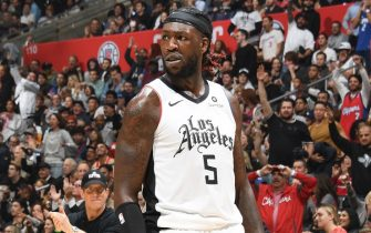 LOS ANGELES, CA - NOVEMBER 22: Montrezl Harrell #5 of the LA Clippers reacts during a game against the Houston Rockets on November 22, 2019 at STAPLES Center in Los Angeles, California. NOTE TO USER: User expressly acknowledges and agrees that, by downloading and/or using this Photograph, user is consenting to the terms and conditions of the Getty Images License Agreement. Mandatory Copyright Notice: Copyright 2019 NBAE (Photo by Andrew D. Bernstein/NBAE via Getty Images)