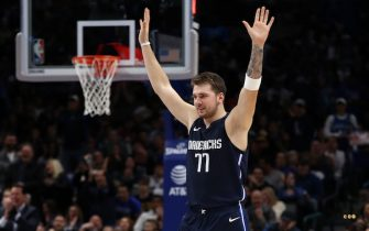 DALLAS, TEXAS - NOVEMBER 22:  Luka Doncic #77 of the Dallas Mavericks at American Airlines Center on November 22, 2019 in Dallas, Texas.  NOTE TO USER: User expressly acknowledges and agrees that, by downloading and or using this photograph, User is consenting to the terms and conditions of the Getty Images License Agreement.  (Photo by Ronald Martinez/Getty Images)