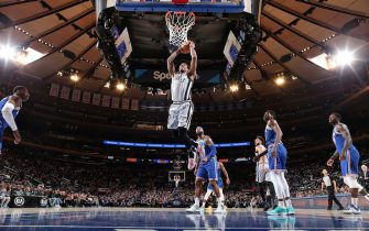 NEW YORK, NY - NOVEMBER 23: DeMar DeRozan #10 of the San Antonio Spurs dunks the ball against the New York Knicks on November 23, 2019 at Madison Square Garden in New York City, New York. NOTE TO USER: User expressly acknowledges and agrees that, by downloading and or using this photograph, User is consenting to the terms and conditions of the Getty Images License Agreement. Mandatory Copyright Notice: Copyright 2019 NBAE  (Photo by Nathaniel S. Butler/NBAE via Getty Images)