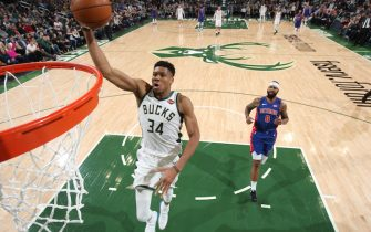 MILWAUKEE, WI - NOVEMBER 23: Giannis Antetokounmpo #34 of the Milwaukee Bucks shoots the ball against the Detroit Pistons on November 23, 2019 at the Fiserv Forum Center in Milwaukee, Wisconsin. NOTE TO USER: User expressly acknowledges and agrees that, by downloading and or using this Photograph, user is consenting to the terms and conditions of the Getty Images License Agreement. Mandatory Copyright Notice: Copyright 2019 NBAE (Photo by Gary Dineen/NBAE via Getty Images).