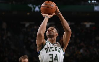 MILWAUKEE, WI - NOVEMBER 23: Giannis Antetokounmpo #34 of the Milwaukee Bucks shoots a free throw against the Detroit Pistons on November 23, 2019 at the Fiserv Forum Center in Milwaukee, Wisconsin. NOTE TO USER: User expressly acknowledges and agrees that, by downloading and or using this Photograph, user is consenting to the terms and conditions of the Getty Images License Agreement. Mandatory Copyright Notice: Copyright 2019 NBAE (Photo by Gary Dineen/NBAE via Getty Images).