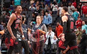 CHARLOTTE, NC - NOVEMBER 23:  The Chicago Bulls react after win against the Charlotte Hornets on November 23, 2019 at Spectrum Center in Charlotte, North Carolina. NOTE TO USER: User expressly acknowledges and agrees that, by downloading and or using this photograph, User is consenting to the terms and conditions of the Getty Images License Agreement.  Mandatory Copyright Notice:  Copyright 2019 NBAE (Photo by Kent Smith/NBAE via Getty Images)