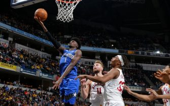 INDIANAPOLIS, IN - NOVEMBER 23: Jonathan Isaac #1 of the Orlando Magic drives to the basket during a game against the Indiana Pacers on November 23, 2019 at Bankers Life Fieldhouse in Indianapolis, Indiana. NOTE TO USER: User expressly acknowledges and agrees that, by downloading and or using this Photograph, user is consenting to the terms and conditions of the Getty Images License Agreement. Mandatory Copyright Notice: Copyright 2019 NBAE (Photo by Ron Hoskins/NBAE via Getty Images)