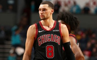 CHARLOTTE, NC - NOVEMBER 23: Zach LaVine #8 of the Chicago Bulls looks on against the Charlotte Hornets on November 23, 2019 at Spectrum Center in Charlotte, North Carolina. NOTE TO USER: User expressly acknowledges and agrees that, by downloading and or using this photograph, User is consenting to the terms and conditions of the Getty Images License Agreement.  Mandatory Copyright Notice:  Copyright 2019 NBAE (Photo by Kent Smith/NBAE via Getty Images)