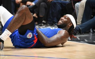 LOS ANGELES, CA - NOVEMBER 24: Montrezl Harrell #5 of the LA Clippers reacts during the game against the New Orleans Pelicans on November 24, 2019 at STAPLES Center in Los Angeles, California. NOTE TO USER: User expressly acknowledges and agrees that, by downloading and/or using this Photograph, user is consenting to the terms and conditions of the Getty Images License Agreement. Mandatory Copyright Notice: Copyright 2019 NBAE (Photo by Andrew D. Bernstein/NBAE via Getty Images)