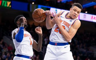 PHILADELPHIA, PA - NOVEMBER 20: Bobby Portis #1 and Kevin Knox II #20 of the New York Knicks go up for the ball against the Philadelphia 76ers at the Wells Fargo Center on November 20, 2019 in Philadelphia, Pennsylvania. NOTE TO USER: User expressly acknowledges and agrees that, by downloading and/or using this photograph, user is consenting to the terms and conditions of the Getty Images License Agreement. (Photo by Mitchell Leff/Getty Images)