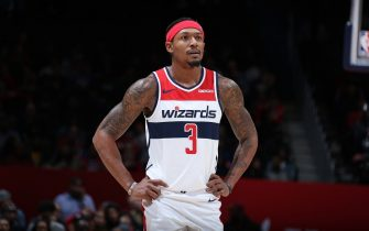 WASHINGTON, DC - NOVEMBER 24: Bradley Beal #3 of the Washington Wizards looks on during a game against the Sacramento Kings on November 24, 2019 at Capital One Arena in Washington, DC. NOTE TO USER: User expressly acknowledges and agrees that, by downloading and or using this Photograph, user is consenting to the terms and conditions of the Getty Images License Agreement. Mandatory Copyright Notice: Copyright 2019 NBAE (Photo by Stephen Gosling/NBAE via Getty Images)