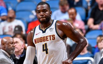 ORLANDO, FL - NOVEMBER 2: A close up shot of Paul Millsap #4 of the Denver Nuggets during a game against the Orlando Magic on November 2, 2019 at Amway Center in Orlando, Florida. NOTE TO USER: User expressly acknowledges and agrees that, by downloading and or using this photograph, User is consenting to the terms and conditions of the Getty Images License Agreement. Mandatory Copyright Notice: Copyright 2019 NBAE (Photo by Fernando Medina/NBAE via Getty Images)