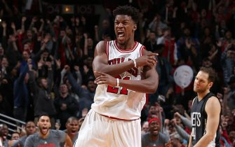 CHICAGO, IL - DECEMBER 28: Jimmy Butler #21 of the Chicago Bulls celebrates after making the game winning shot against the Brooklyn Nets on December 28, 2016 at the United Center in Chicago, Illinois. NOTE TO USER: User expressly acknowledges and agrees that, by downloading and or using this Photograph, user is consenting to the terms and conditions of the Getty Images License Agreement. Mandatory Copyright Notice: Copyright 2016 NBAE (Photo by Gary Dineen/NBAE via Getty Images)