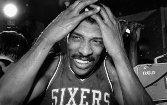 LOS ANGELES, CA - MAY 31: Julius Erving of the Philadelphia 76ers celebrates following Game Four of the NBA Finals played against the Los Angeles Lakers on May 31, 1983 at the Great Western Forum in Los Angeles, California.  Philadelphia defeated Los Angeles 115-108 and won the series 4-0. NOTE TO USER: User expressly acknowledges that, by downloading and or using this photograph, User is consenting to the terms and conditions of the Getty Images License agreement. Mandatory Copyright Notice: Copyright 1983 NBAE (Photos by NBA Photos/NBAE via Getty Images)