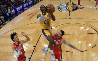 NEW ORLEANS, LOUISIANA - NOVEMBER 27: LeBron James #23 of the Los Angeles Lakers shoots the ball over JJ Redick #4 of the New Orleans Pelicans at Smoothie King Center on November 27, 2019 in New Orleans, Louisiana.  NOTE TO USER: User expressly acknowledges and agrees that, by downloading and/or using this photograph, user is consenting to the terms and conditions of the Getty Images License Agreement (Photo by Chris Graythen/Getty Images)
