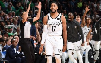 BOSTON, MA - NOVEMBER 27: Garrett Temple #17 of the Brooklyn Nets reacts to a play against the Boston Celtics on November 27, 2019 at the TD Garden in Boston, Massachusetts. NOTE TO USER: User expressly acknowledges and agrees that, by downloading and or using this photograph, User is consenting to the terms and conditions of the Getty Images License Agreement. Mandatory Copyright Notice: Copyright 2019 NBAE (Photo by Brian Babineau/NBAE via Getty Images)