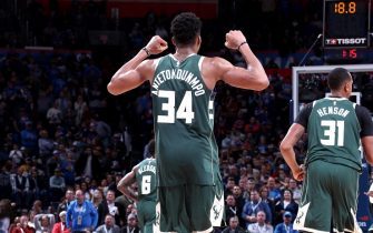 OKLAHOMA CITY, OK- DECEMBER 29, 2017:  Giannis Antetokounmpo #34 of the Milwaukee Bucks reacts to a play during the bgame against the Oklahoma City Thunder on December 29, 2017 at Chesapeake Energy Arena in Oklahoma City, Oklahoma. NOTE TO USER: User expressly acknowledges and agrees that, by downloading and or using this photograph, User is consenting to the terms and conditions of the Getty Images License Agreement. Mandatory Copyright Notice: Copyright 2017 NBAE (Photo by Nathaniel S. Butler/NBAE via Getty Images)