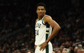 MILWAUKEE, WISCONSIN - NOVEMBER 25:  Giannis Antetokounmpo #34 of the Milwaukee Bucks waits for a free throw during a game against the Utah Jazz at Fiserv Forum on November 25, 2019 in Milwaukee, Wisconsin. NOTE TO USER: User expressly acknowledges and agrees that, by downloading and or using this photograph, User is consenting to the terms and conditions of the Getty Images License Agreement. (Photo by Stacy Revere/Getty Images)
