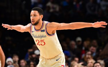 PHILADELPHIA, PA - NOVEMBER 30: Ben Simmons #25 of the Philadelphia 76ers plays defense against  against the Indiana Pacers on November 30, 2019 at the Wells Fargo Center in Philadelphia, Pennsylvania NOTE TO USER: User expressly acknowledges and agrees that, by downloading and/or using this Photograph, user is consenting to the terms and conditions of the Getty Images License Agreement. Mandatory Copyright Notice: Copyright 2019 NBAE (Photo by Jesse D. Garrabrant/NBAE via Getty Images)