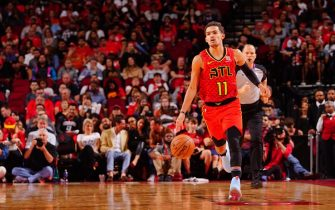 HOUSTON, TX - NOVEMBER 30:  Trae Young #11 of the Atlanta Hawks handles the ball against the Houston Rockets on November 30, 2019 at the Toyota Center in Houston, Texas. NOTE TO USER: User expressly acknowledges and agrees that, by downloading and or using this photograph, User is consenting to the terms and conditions of the Getty Images License Agreement. Mandatory Copyright Notice: Copyright 2019 NBAE (Photo by Cato Cataldo/NBAE via Getty Images)