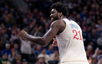 PHILADELPHIA, PA - NOVEMBER 30: Joel Embiid #21 of the Philadelphia 76ers reacts against the Indiana Pacers in the fourth quarter at the Wells Fargo Center on November 30, 2019 in Philadelphia, Pennsylvania. The 76ers defeated the Pacers 119-116. NOTE TO USER: User expressly acknowledges and agrees that, by downloading and/or using this photograph, user is consenting to the terms and conditions of the Getty Images License Agreement. (Photo by Mitchell Leff/Getty Images)