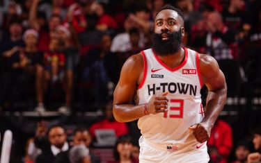 HOUSTON, TX - NOVEMBER 30:  James Harden #13 of the Houston Rockets runs up the court against the Atlanta Hawks on November 30, 2019 at the Toyota Center in Houston, Texas. NOTE TO USER: User expressly acknowledges and agrees that, by downloading and or using this photograph, User is consenting to the terms and conditions of the Getty Images License Agreement. Mandatory Copyright Notice: Copyright 2019 NBAE (Photo by Cato Cataldo/NBAE via Getty Images)