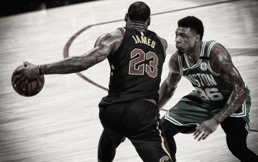 CLEVELAND, OH - MAY 21:  (EDITOR'S NOTE: Image has been digitally enhanced.) Marcus Smart #36 of the Boston Celtics plays defense against LeBron James #23 of the Cleveland Cavaliers in Game Four of the Eastern Conference Finals of the 2018 NBA Playoffs on May 21, 2018 at Quicken Loans Arena in Cleveland, Ohio. NOTE TO USER: User expressly acknowledges and agrees that, by downloading and or using this Photograph, user is consenting to the terms and conditions of the Getty Images License Agreement. Mandatory Copyright Notice: Copyright 2018 NBAE (Photo by Brian Babineau/NBAE via Getty Images)