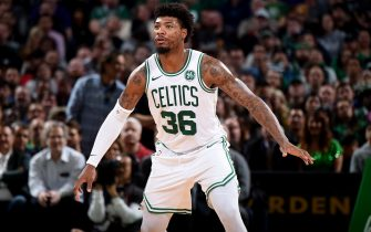 BOSTON, MA - NOVEMBER 25: Marcus Smart #36 of the Boston Celtics looks on during the game against the Sacramento Kings on November 25, 2019 at the TD Garden in Boston, Massachusetts.  NOTE TO USER: User expressly acknowledges and agrees that, by downloading and or using this photograph, User is consenting to the terms and conditions of the Getty Images License Agreement. Mandatory Copyright Notice: Copyright 2019 NBAE  (Photo by Brian Babineau/NBAE via Getty Images)
