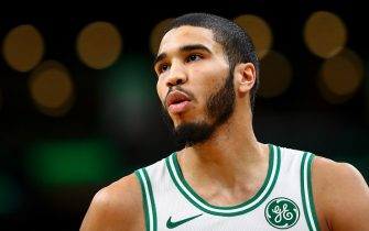 BOSTON, MA - NOVEMBER 25:  Jayson Tatum #0 of the Boston Celtics looks on during a game against the Sacramento Kings at TD Garden on November 25, 2019 in Boston, Massachusetts. NOTE TO USER: User expressly acknowledges and agrees that, by downloading and or using this photograph, User is consenting to the terms and conditions of the Getty Images License Agreement. (Photo by Adam Glanzman/Getty Images)