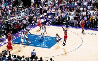 SAL LAKE CITY - JUNE 14:  Michael Jordan #23 of the Chicago Bulls shoots the game winner against the Utah Jazz in the 1998 NBA FINALS of Game 6.  The shot gave the Bulls their sixth NBA title, 87-86 at the Delta Center, Salt Lake City, Utah. NOTE TO USER: User expressly acknowledges  and agrees that, by downloading and or using this  photograph, User is consenting to the terms and conditions of the Getty Images License Agreement. Mandatory copyright notice: Copyright NBAE 2002 (Photo by Scott Cunningham/ NBAE/ Getty Images)