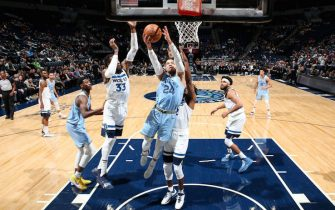 MINNEAPOLIS, MN -  DECEMBER 1: Dillon Brooks #24 of the Memphis Grizzlies drives to the basket during a game against the Minnesota Timberwolves on December 1, 2019 at Target Center in Minneapolis, Minnesota. NOTE TO USER: User expressly acknowledges and agrees that, by downloading and or using this Photograph, user is consenting to the terms and conditions of the Getty Images License Agreement. Mandatory Copyright Notice: Copyright 2019 NBAE (Photo by David Sherman/NBAE via Getty Images)