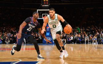 NEW YORK, NY - DECEMBER 1: Jayson Tatum #0 of the Boston Celtics shoots the ball against the New York Knicks on December 1, 2019 at Madison Square Garden in New York City, New York.  NOTE TO USER: User expressly acknowledges and agrees that, by downloading and or using this photograph, User is consenting to the terms and conditions of the Getty Images License Agreement. Mandatory Copyright Notice: Copyright 2019 NBAE  (Photo by Jesse D. Garrabrant/NBAE via Getty Images)