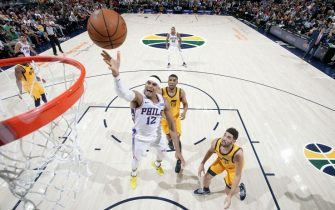 SALT LAKE CITY, UT - NOVEMBER 6: Tobias Harris #12 of the Philadelphia 76ers shoots the ball against the Utah Jazz on November 6, 2019 at vivint.SmartHome Arena in Salt Lake City, Utah. NOTE TO USER: User expressly acknowledges and agrees that, by downloading and or using this Photograph, User is consenting to the terms and conditions of the Getty Images License Agreement. Mandatory Copyright Notice: Copyright 2019 NBAE (Photo by Melissa Majchrzak/NBAE via Getty Images)