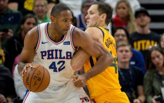 SALT LAKE CITY, UT - NOVEMBER 06: Al Horford #42 of the Philadelphia 76ers drives into Bojan Bogdanovic #44 of the Utah Jazz during a game at Vivint Smart Home Arena on November 6, 2019 in Salt Lake City, Utah. NOTE TO USER: User expressly acknowledges and agrees that, by downloading and/or using this photograph, user is consenting to the terms and conditions of the Getty Images License Agreement.  (Photo by Alex Goodlett/Getty Images)