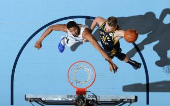 MEMPHIS, TN - DECEMBER 2: Domantas Sabonis #11 of the Indiana Pacers shoots the ball against the Memphis Grizzlies on December 2, 2019 at FedExForum in Memphis, Tennessee. NOTE TO USER: User expressly acknowledges and agrees that, by downloading and or using this photograph, User is consenting to the terms and conditions of the Getty Images License Agreement. Mandatory Copyright Notice: Copyright 2019 NBAE (Photo by Joe Murphy/NBAE via Getty Images)