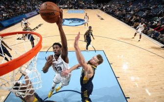 MEMPHIS, TN - DECEMBER 2: Jaren Jackson Jr. #13 of the Memphis Grizzlies shoots the ball against the Indiana Pacers on December 2, 2019 at FedExForum in Memphis, Tennessee. NOTE TO USER: User expressly acknowledges and agrees that, by downloading and or using this photograph, User is consenting to the terms and conditions of the Getty Images License Agreement. Mandatory Copyright Notice: Copyright 2019 NBAE (Photo by Joe Murphy/NBAE via Getty Images)
