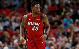 MIAMI, FLORIDA - NOVEMBER 20:  Udonis Haslem #40 of the Miami Heat in action against the Cleveland Cavaliers during the second half at American Airlines Arena on November 20, 2019 in Miami, Florida. NOTE TO USER: User expressly acknowledges and agrees that, by downloading and/or using this photograph, user is consenting to the terms and conditions of the Getty Images License Agreement.  (Photo by Michael Reaves/Getty Images)
