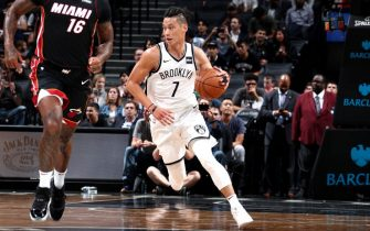 BROOKLYN, NY - OCTOBER 5: Jeremy Lin #7 of the Brooklyn Nets handles the ball during the game against the Miami Heat during a preseason game on October 5, 2017 at Barclays Center in Brooklyn, New York. NOTE TO USER: User expressly acknowledges and agrees that, by downloading and or using this Photograph, user is consenting to the terms and conditions of the Getty Images License Agreement. Mandatory Copyright Notice: Copyright 2017 NBAE (Photo by Nathaniel S. Butler/NBAE via Getty Images)