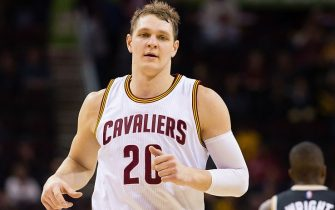 CLEVELAND, OH - JANUARY 4: Timofey Mozgov #20 of the Cleveland Cavaliers runs down court during the second half against the Toronto Raptors at Quicken Loans Arena on January 4, 2016 in Cleveland, Ohio. The Cavaliers defeated the Raptors 122-100. NOTE TO USER: User expressly acknowledges and agrees that, by downloading and/or using this photograph, user is consenting to the terms and conditions of the Getty Images License Agreement. Mandatory copyright notice. (Photo by Jason Miller/Getty Images)