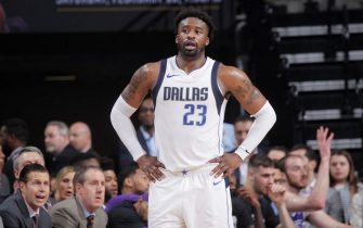 SACRAMENTO, CA - FEBRUARY 3: Wesley Matthews #23 of the Dallas Mavericks looks on during the game against the Sacramento Kings on February 3, 2018 at Golden 1 Center in Sacramento, California. NOTE TO USER: User expressly acknowledges and agrees that, by downloading and or using this photograph, User is consenting to the terms and conditions of the Getty Images Agreement. Mandatory Copyright Notice: Copyright 2018 NBAE (Photo by Rocky Widner/NBAE via Getty Images)