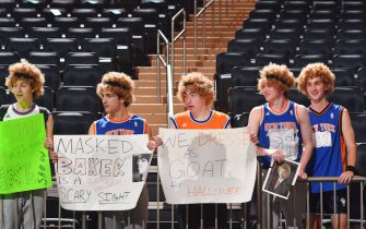NEW YORK, NY - OCTOBER 31:  fans dress up to celebrate Halloween during the game between the New York Knicks and Indiana Pacers on October 31, 2018 at Madison Square Garden in New York City, New York.  NOTE TO USER: User expressly acknowledges and agrees that, by downloading and or using this photograph, User is consenting to the terms and conditions of the Getty Images License Agreement. Mandatory Copyright Notice: Copyright 2018 NBAE  (Photo by Jesse D. Garrabrant/NBAE via Getty Images)