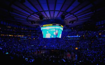 during a game at Madison Square Garden on October 29, 2014 in New York City. NOTE TO USER: User expressly acknowledges and agrees that, by downloading and/or using this photograph, user is consenting to the terms and conditions of the Getty Images License Agreement.  (Photo by Alex Goodlett/Getty Images)