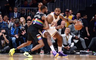 DENVER, CO - DECEMBER 3: LeBron James #23 of the Los Angeles Lakers handles the ball during the game against the Denver Nuggets on December 3, 2019 at the Pepsi Center in Denver, Colorado. NOTE TO USER: User expressly acknowledges and agrees that, by downloading and/or using this Photograph, user is consenting to the terms and conditions of the Getty Images License Agreement. Mandatory Copyright Notice: Copyright 2019 NBAE (Photo by Bart Young/NBAE via Getty Images)